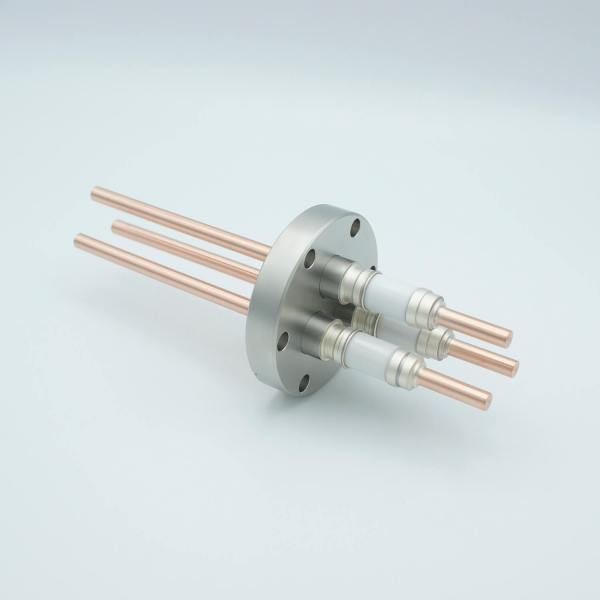 """Power Feedthrough, 12,000 Volts, 180 Amps, 3 Pins, 0.25"""" Copper Conductors, 2.75"""" Conflat Flange"""