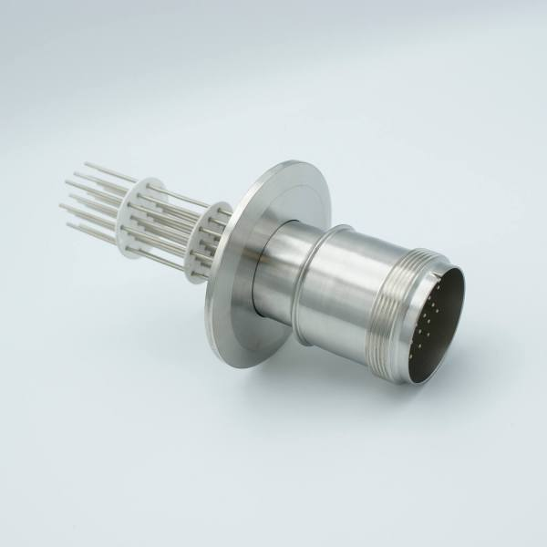 """MS Series, Multipin Feedthrough, 20 Pins, 700 Volts, 10 Amps per Pin, 0.056"""" Dia Conductors, w/ Air-side Connector, 2.95"""" QF / KF Flange"""