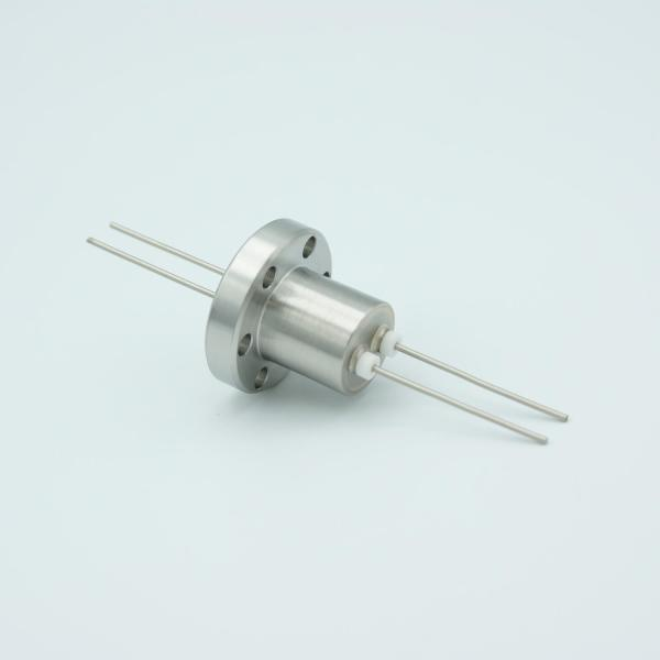 """Power Feedthrough, 1000 Volts, 1 Amp, 2 Pins, 0.050"""" Stainless Steel Conductors, 1.33"""" Conflat Flange"""