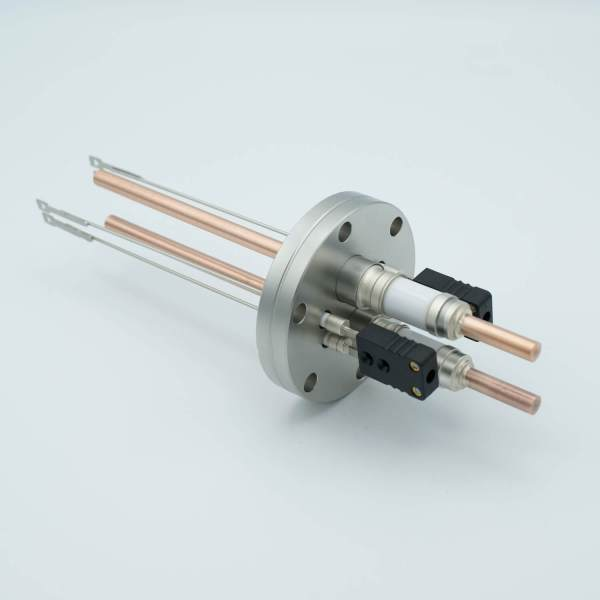 """Thermocouple-Power Feedthrough, 2 Pairs Type J, w/ Miniature TC Connectors, 5000 Volts, 150 Amps, 2 Pins, 2.75"""" Conflat Flange"""