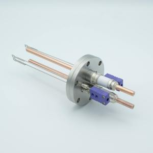"""Thermocouple-Power Feedthrough, 2 Pairs Type E, w/ Miniature TC Connectors, 5000 Volts, 150 Amps, 2 Pins, 2.75"""" Conflat Flange"""