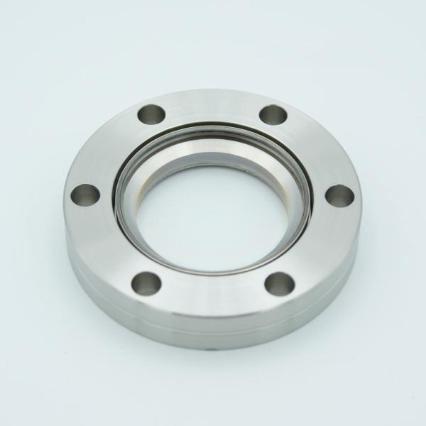 """UHV Viewport, DUV Grade (Laser) Fused Silica w/ Broadband AR Coating for 425-760nm, 1.40"""" View Dia, 2.75"""" Conflat Flange"""