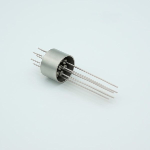 """MPF - A0089-1-W Power Feedthrough, 500 Volts, 5 Amps, 8 Pins, 0.032"""" Nickel Conductors, 0.747"""" Dia Stainless Steel Weld Adapter"""