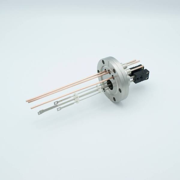 """Thermocouple-Power Feedthrough, 2 Pairs Type J, w/ Miniature TC Connectors, 5000 Volts, 30 Amps, 3 Pins, 2.75"""" Conflat Flange"""