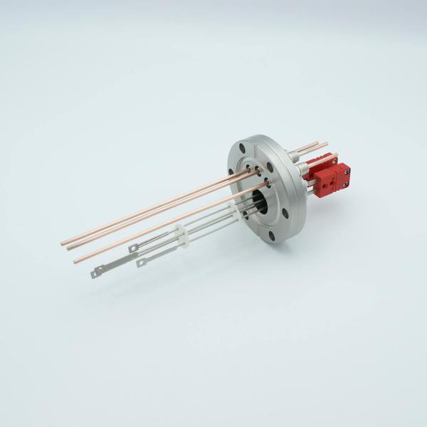 """Thermocouple-Power Feedthrough, 2 Pairs Type C, w/ Miniature TC Connectors, 5000 Volts, 30 Amps, 3 Pins, 2.75"""" Conflat Flange"""