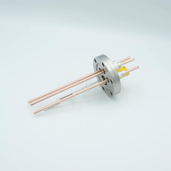 """Thermocouple-Power Feedthrough, 1 Pair Type K, w/ Miniature TC Connector, 5000 Volts, 60 Amps, 3 Pins, 2.75"""" Conflat Flange"""