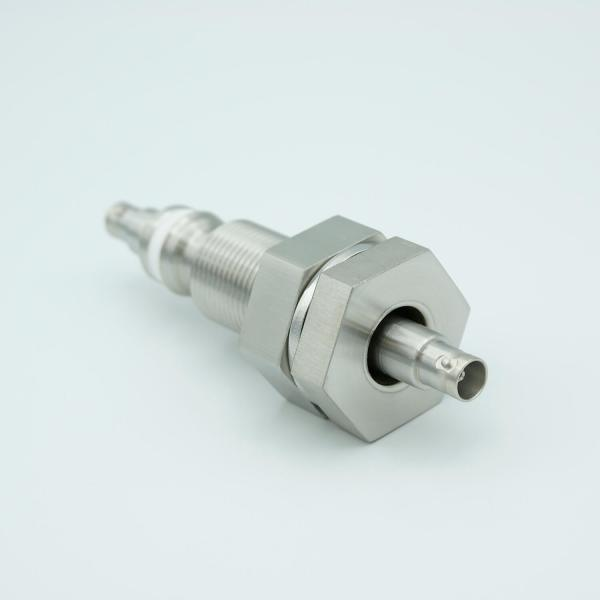 """MPF - A0487-4-BP BNC Coaxial Feedthrough, 1 Pin, Floating Shield, Double-Ended, 1.0"""" Baseplate Bolt, Without Air-side Connector"""