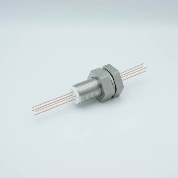 """Power Feedthrough, 1000 Volts, 25 Amps, 4 Pins, 0.050"""" Copper Conductors, 1.0"""" Baseplate Bolt"""