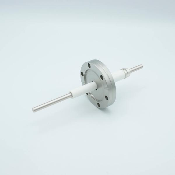 """Power Feedthrough, 12,000 Volts, 55 Amps, 1 Pin, 0.25"""" Nickel Conductor, 2.75"""" Conflat Flange"""