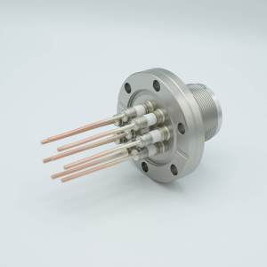 """MS High Current Series, Multipin Feedthrough, 8 Pins, 700 Volts, 23 Amps per Pin, 0.094"""" Copper Conductors, 2.75"""" Conflat Flange"""