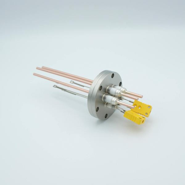 """Thermocouple-Power Feedthrough, 2 Pairs Type K, w/ Miniature TC Connectors, 5000 Volts, 60 Amps, 3 Pins, 2.75"""" Conflat Flange"""