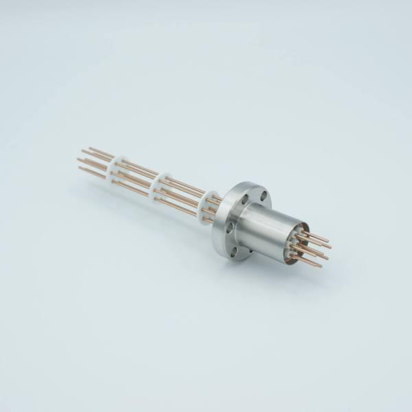 "MPF - A0863-3-CF Power Feedthrough, 1000 Volts, 25 Amps, 8 Pins, 0.050"" Copper Conductors, 1.33"" Conflat Flange"