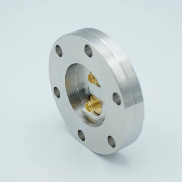 """MPF - A12377-2-CF: SMA Coaxial Feedthrough, 50 Ohm Matched Impedance to 18 GHz, 2 Pins, Grounded Shield, Double-Ended, 2.75"""" Conflat Flange"""