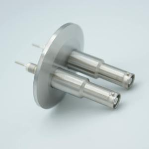 """MPF - A1603-3-QF SHV-10 Coaxial Feedthrough, 2 Pins, Grounded Shield, Exposed Insulator, 2.16"""" QF / KF Flange"""