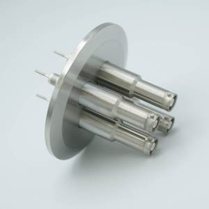 """MPF - A1603-5-QF SHV-10 Coaxial Feedthrough, 4 Pins, Grounded Shield, Exposed Insulator, 2.95"""" QF / KF Flange"""