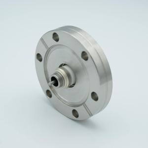"""MPF - A1983-3: SMA Coaxial Feedthrough, 1 Pin, Floating Shield, 2.16"""" QF / KF Flange"""