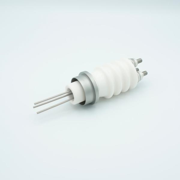 """Power Feedthrough, 25,000 Volts, 3 Amps, 3 Pins, 0.094"""" Stainless Steel Conductors, 1.50"""" Dia Stainless Steel Weld Adapter"""
