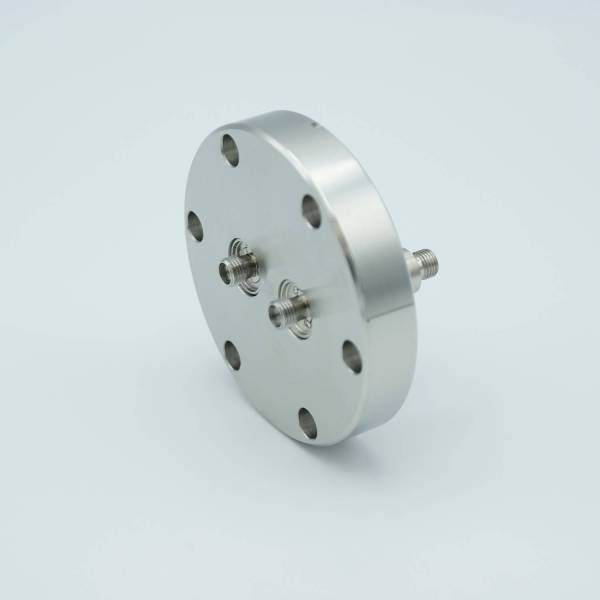 """MPF - A4076-1-CF SMA Coaxial Feedthrough, 50 Ohm Matched Impedance, 2 Pins, Grounded Shield, Double-Ended, 2.75"""" Conflat Flange"""