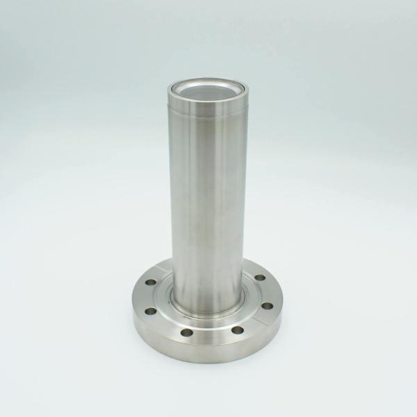 "UHV Viewport, UV Grade Fused Silica, Re-entrant Design, 3.50"" In-Vacuum Length, 1.40"" View Dia, 4.50"" Conflat Flange"