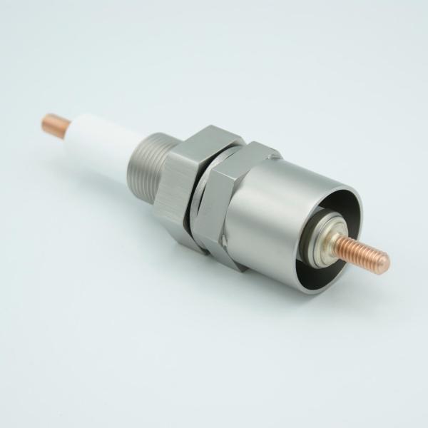 """MPF - A13969-1-BP: E-Beam Power Feedthrough, 12,000 Volts, 1 Pin, With Sputter Shield, 1"""" Baseplate Bolt, OAL 6.93"""