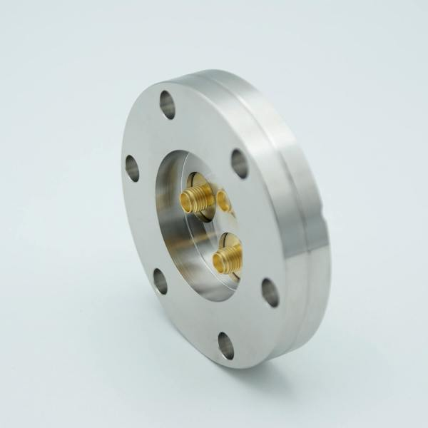 """MPF - A12377-3-CF: SMA Coaxial Feedthrough, 50 Ohm Matched Impedance to 18 GHz, 3 Pins, Grounded Shield, Double-Ended, 2.75"""" Conflat Flange"""