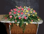 #MPCASK0013 — $320.00 — 02 Love Birds, Yellow Roses, Coral Roses, Two Tones Tulips, Green Dendrobium Orchids, Baby's Breath. ~ Approximate size: 18″H x 38″W
