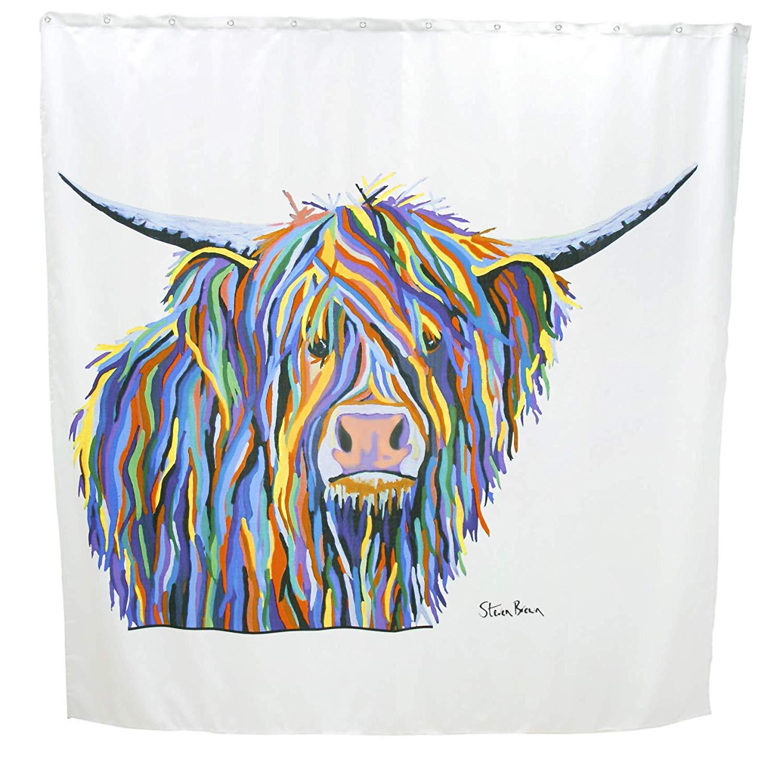 Croydex Steven Brown Angus Mccoo Highland Cattle Fabric Shower Curtain