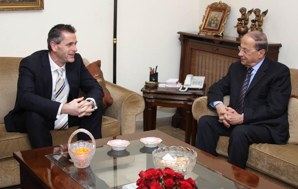 Johan Verkammen (ambassadeur de Belgique au Liban) - Michel Aoun (Courant patriotique libre)