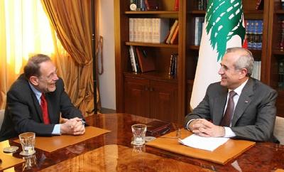Le chef de la diplomatie européenne avec le président Michel Sleiman