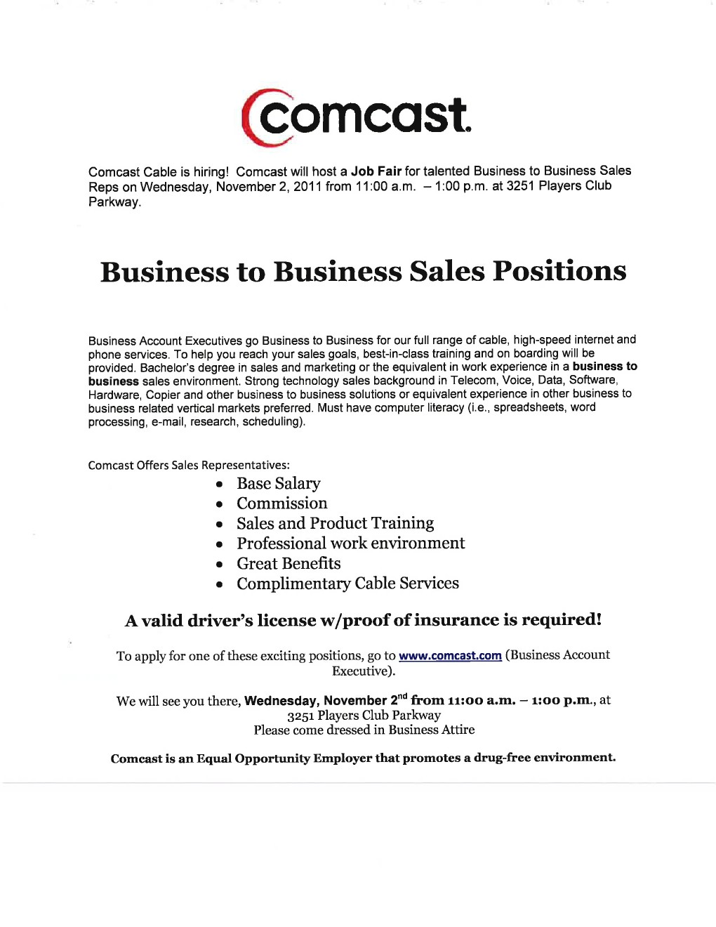Comcast – Business To Business Sales Reps Job Fair 11 2 11