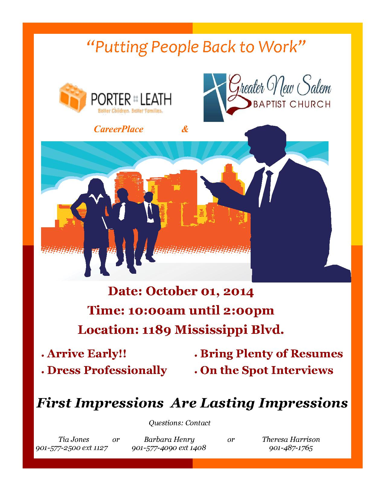 Job Fair 10 1 14 – Sponsored By Porter Leath Career Place & Greater