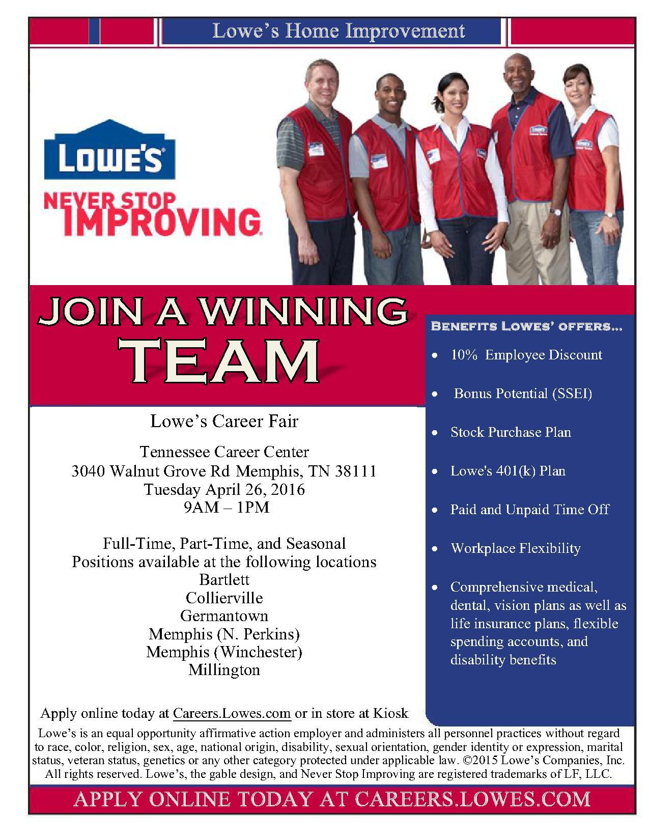 Lowes Job Fair TN Career Center 42616 Job Amp Career News From The Memphis Public Libraries
