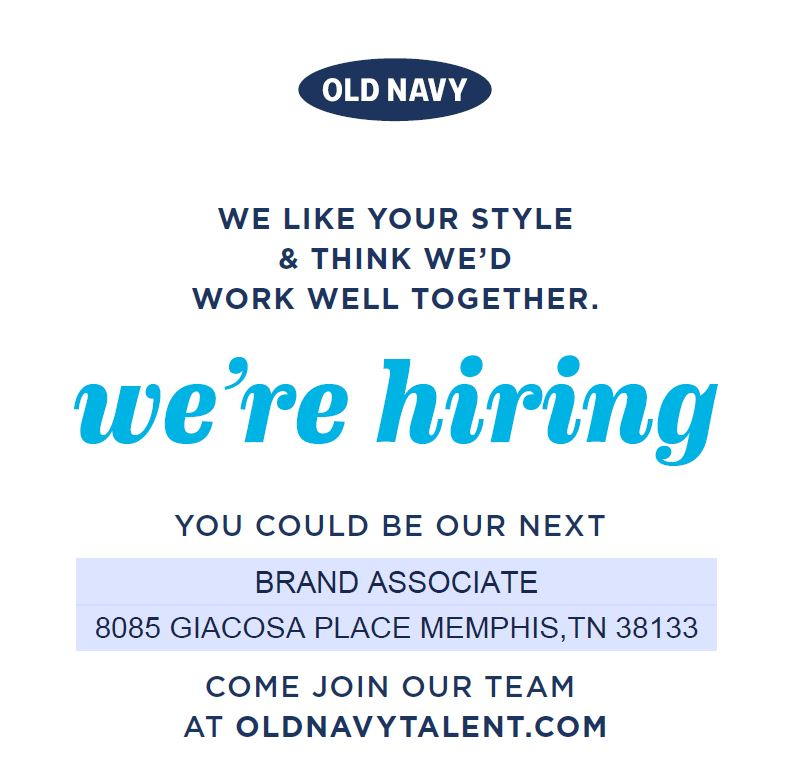 Old Navy Hiring for Brand Associate  Job  Career News from the Memphis Public Libraries