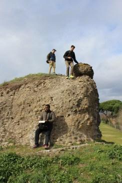 Climbing Ruins along Appia Antica