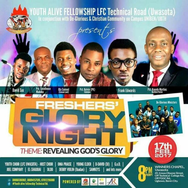 fgn%204 Event: Freshers' Glory Night with Frank Edwards, Ola Samuel and More