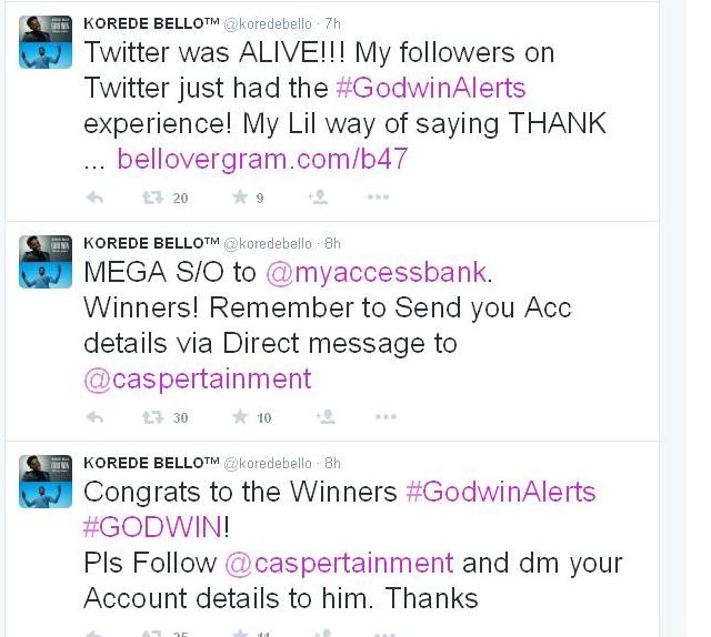 korede-tweets Korede Bello Gives Out Alert to Bellovers on Twitter