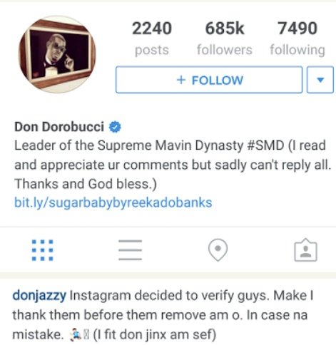 don-ja-ig Don Jazzy Gets Verified On Instagram