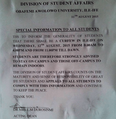 notice OAU Oders Students to Stay on Campus as Ife Palace Prepares to Announce Ooni's death