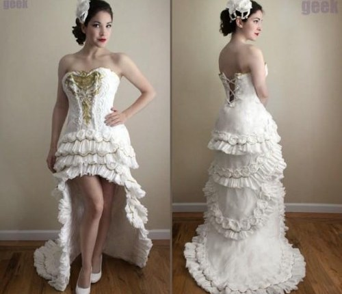 Oya Feel This White Wedding Dress Entirely Made Out Of Toilet Paper