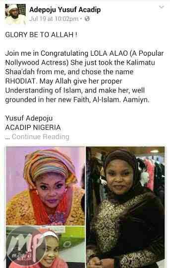wp-1469095249988 This Popular Yoruba actress has converted to Islam