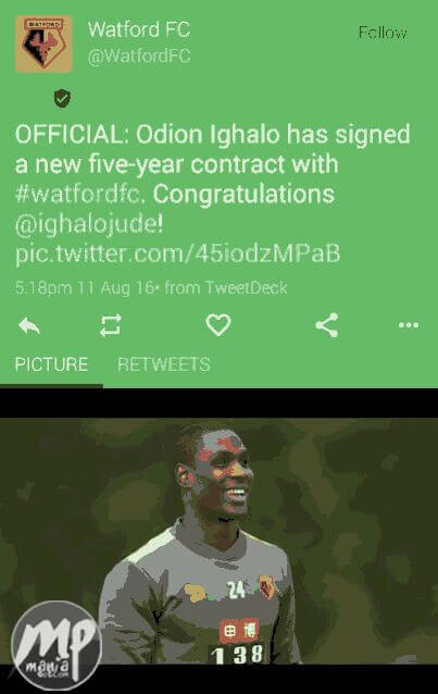 wp-1471006233895-1 Congratulations! Nigeria Striker Ighalo Jude Signs 5 Year Contract With Watford