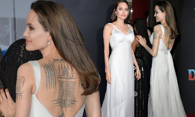 Angelina Jolie shows off Her Body-Tattoo-Collection (Photos)