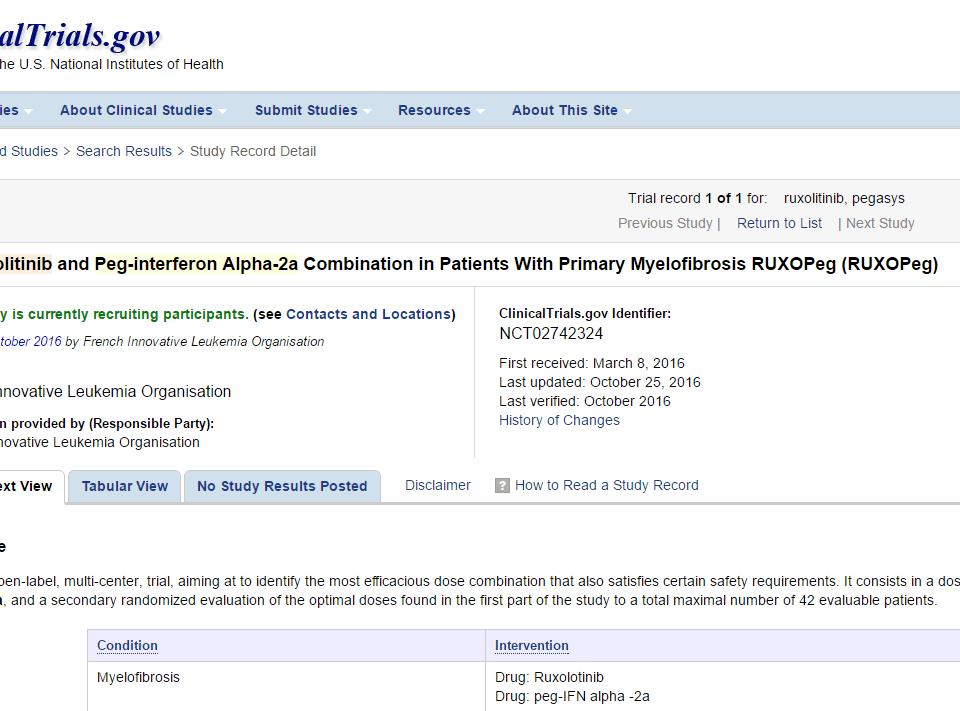 ruxolitinib and pegasys for treating MPNs