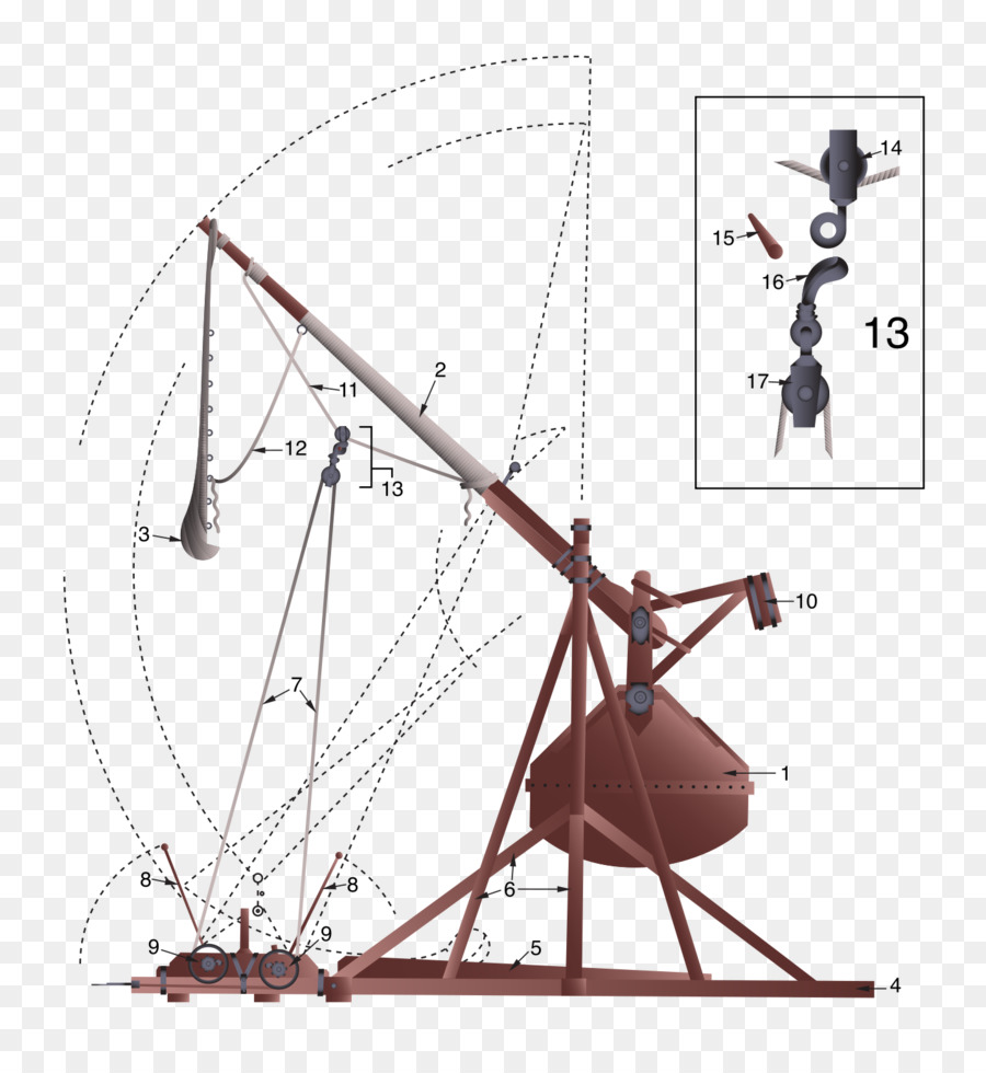 hight resolution of trebuchet counterweight diagram