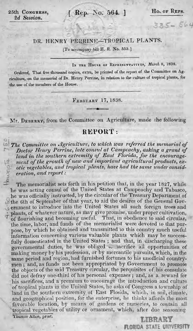 Dr. Henry Perrine's report on Tropical Plants for the 25th Congress of the United States - February 17, 1838.