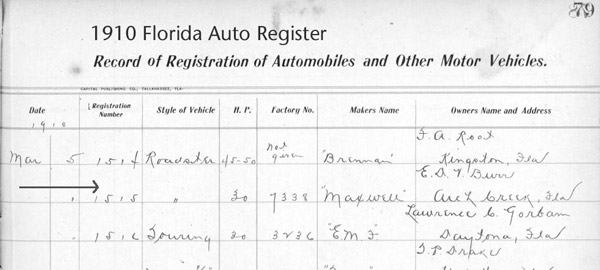 Florida Autombile Registrations - 1910