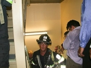 Anxious moments (WTC) as fire fighters seek safe passage for occupants