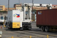 X-raying shipping containers at Manila Port.