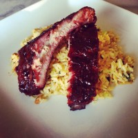 Going Hawaiian Style: Smoked Pork Ribs and Toasted Coconut Lime Rice Pilaf….
