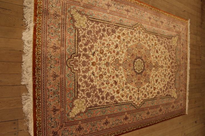 Beige Red Qom Persian Rugs Large Silk Qum Carpets